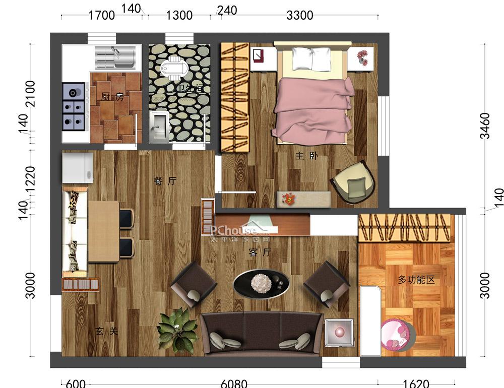 62平简约风格小宅平面设计作品_葫芦岛海纳计算机学校